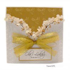 Kartka ślubna złota ręcznie robiona