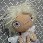 ANIOŁEK lalka - dekoracja tekstylna, OOAK/34 - mam fioletowe oczka