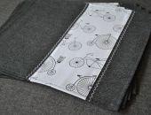 4 podkładki pod talerze - rowery i sowy na filcu