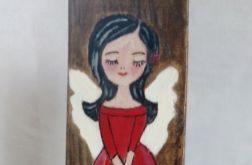 Anioł w czerwonej sukience- malowany na desce