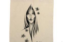 Kwiaty - torba z nadrukiem ecru
