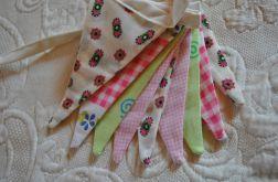 Girlanda chorągiewek - różowo-zielona