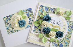 Kartka MŁODEJ PARZE z niebieskimi różami