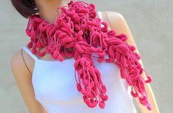 pom-pon scarf  - malinowy