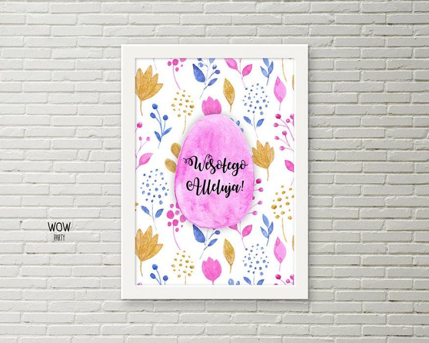 Plakat wielkanocny w ramce A4 różowa pisanka