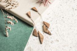 Długie wiszące kolczyki z drewna