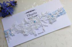 Ślubna, zdobiona koronkowa podwiązka ivory/ec