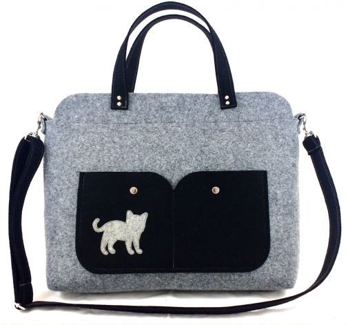 Gray laptop bag with cat