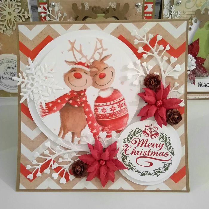 Kartka świąteczna eko czerwono biała BNR 004 - Kartka na boże narodzenie eko czerwono biała zakochane renifery (3)
