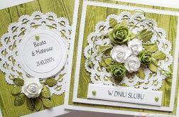 Kartka W DNIU ŚLUBU z zielonymi różami