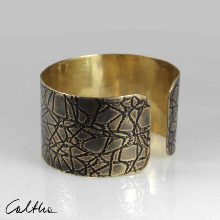 Pajęczyna – mosiężna bransoleta 2108-01 - szeroka bransoleta