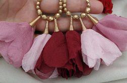 Kolczyki kwiaty bordowe różowe peonie bordowe