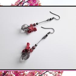 Kolczyki wiśniowe - z kokardą