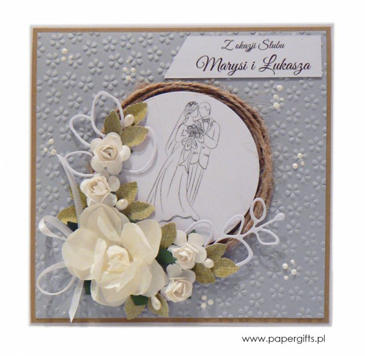 Kartka ślubna szara wianek ręcznie robiona - Szara kartka z wiankiem na ślub