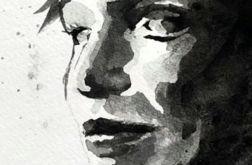 portret akwarelowy - czarno-biały