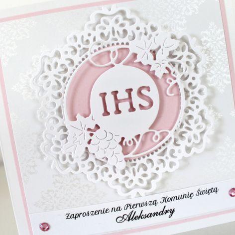 Zaproszenie na Pierwszą Komunię Świętą #pink