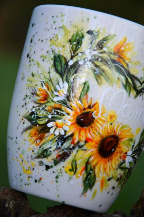 Kubek ręcznie malowany-słoneczniki-dla mamy -