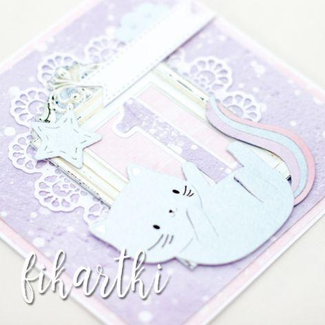 Kartka urodzinowa z kotkiem na Roczek KU2108
