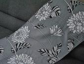Bieżnik na stół - szare kwiaty - 38 x 118 cm