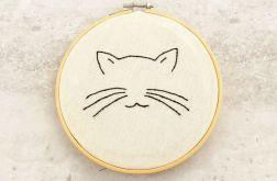 Kot - haftowany obraz, tamborek