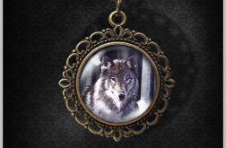Medalion, naszyjnik - Szary wilk - brąz