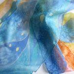 Szal Świetlisty, jedwabny malowany ręcznie - Jedwabny szal ręcznie malowany Świetlisty