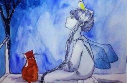 Akwarela ''Z papugą na głowie''