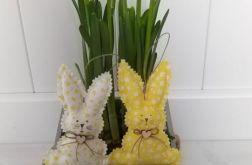 Zajączki zawieszki, żółto-biały komplet