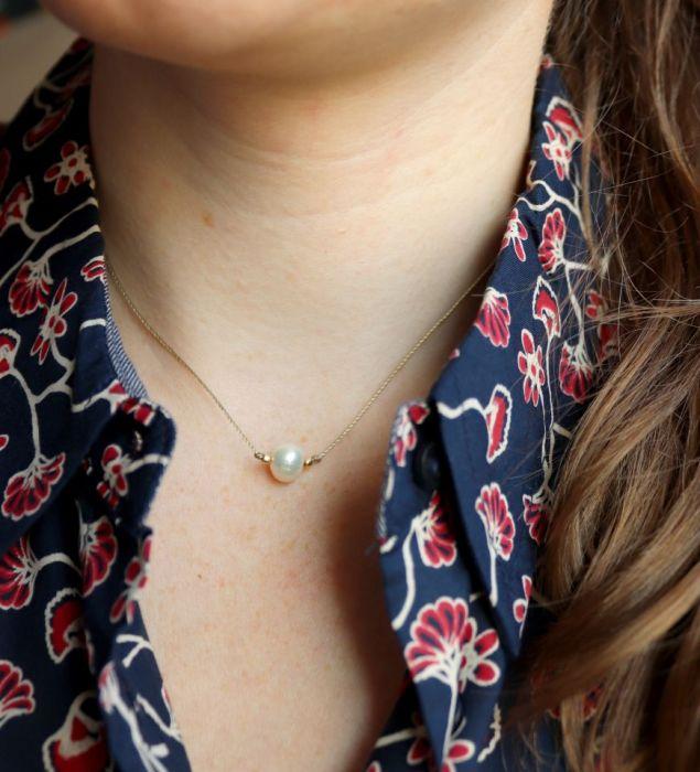 Naszyjnik z perłą Relva - Delikatny naszyjnik z perłą hodowlaną