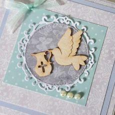 Kartka na Chrzest gołąbek miętowa