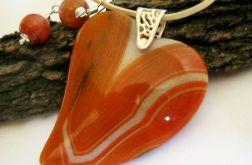 Duże serce, pomarańczowe agaty, srebro