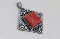 Czerwony koral i srebro - wisior