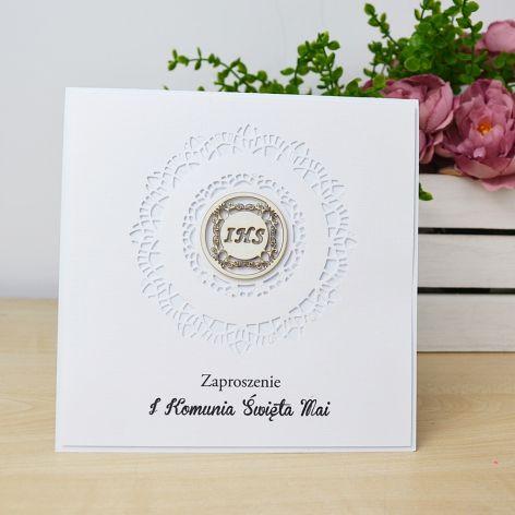 Komunia - zaproszenie ażurowe białe