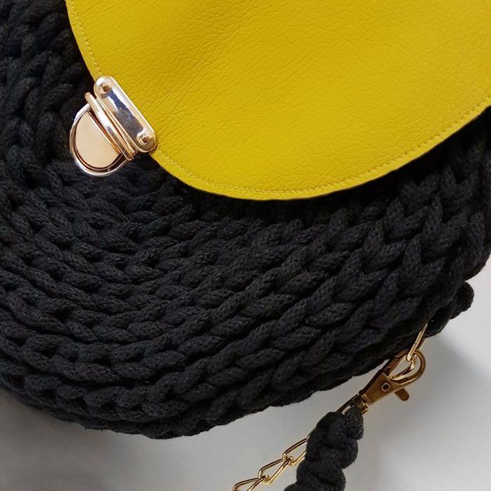 Torebka letnia ze sznurka żółta kolor okrągła