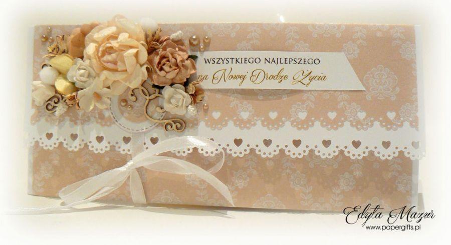 Kartka ślubna złota kopertówka na prezent - Kartka kopertowa na ślub