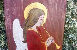Anioł grający na trąbce- akryl na desce