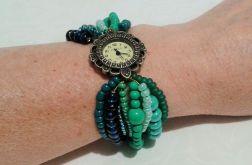 bransoletka zielona z zegarkiem