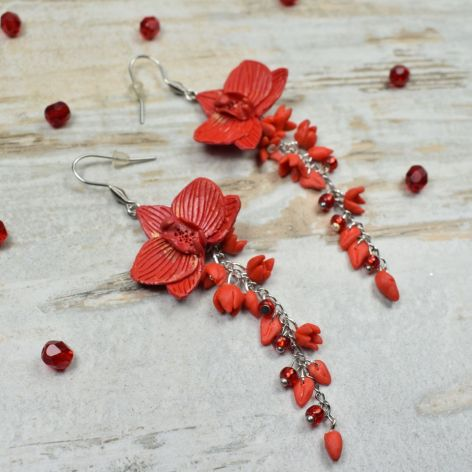 Długie kolczyki kwiaty -czerwone