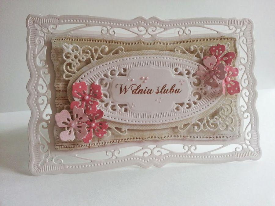 Ażurowa kartka ślubna