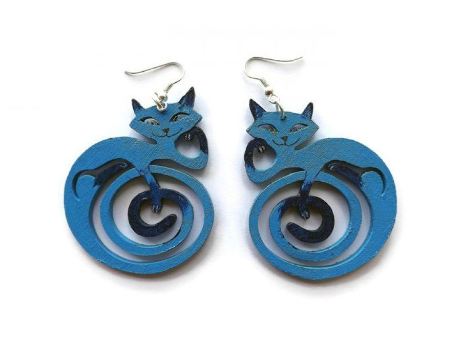 Kolczyki Kotki Zawinotki - niebieskie różne