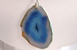Kobaltowo-szary agat, kamień harmonii i spokoju, wisior