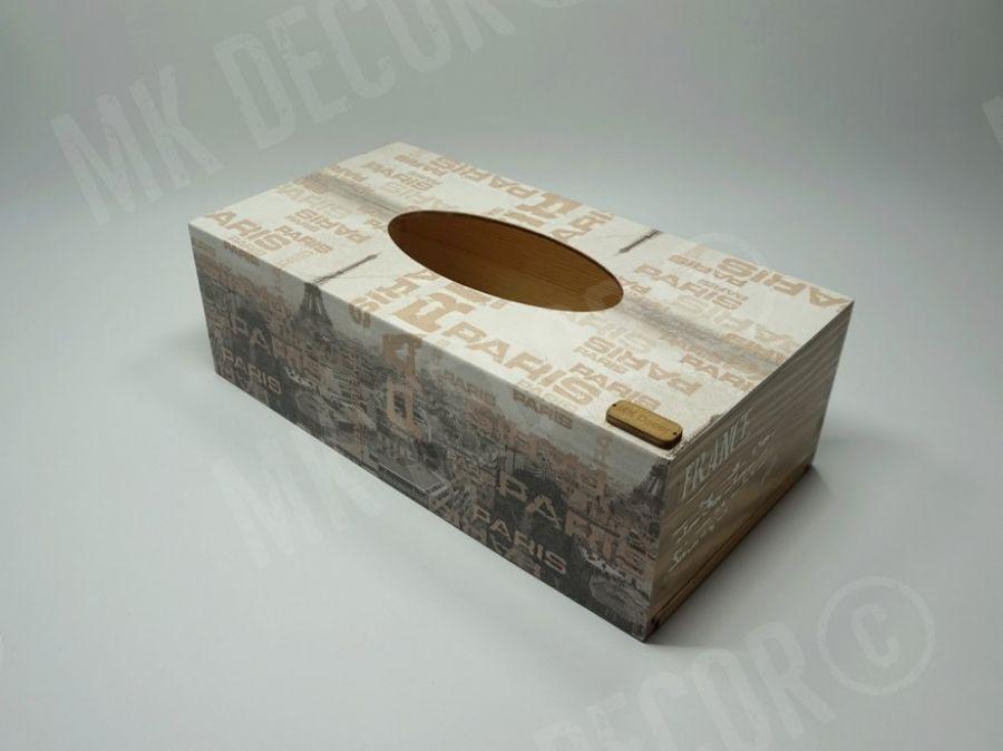 Pudełko prostokątne na chusteczki PARIS - pudełko z frontu 3