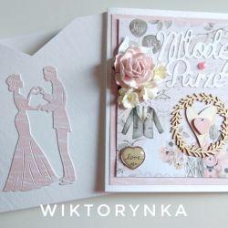 Kartka ślubna plus koperta 3D, ślub
