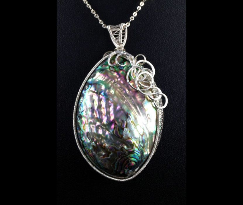 Srebrny wisior z muszlą Abalone wire wrapped