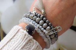 Zestaw bransoletek w odcieniach szarośći