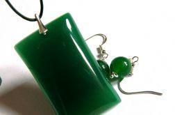 Elegancki zestaw w srebrze, zielony jadeit
