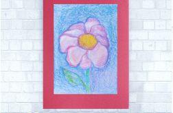 Rysunek kwiat na bordowym tle nr 6