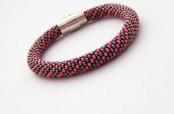Bransoletka wąż kolor hematytu z czerwonym3