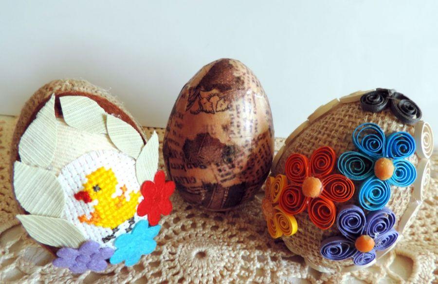 Eko jaja cudnie zdobione w tym haft, 3szt.