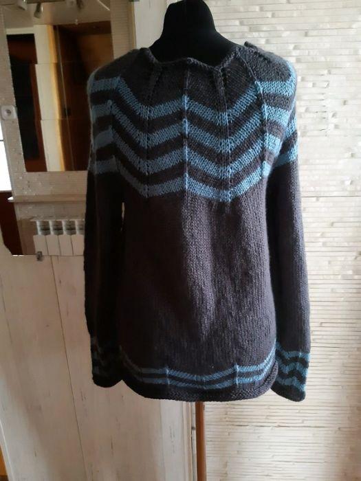 szary sweter wełna merino m/l